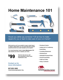 Home Maintenance 101 Class Flyer