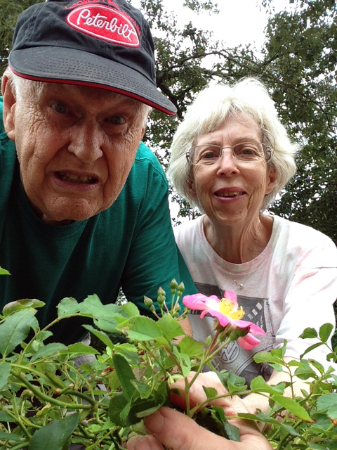 A senior couple is working in the garden.